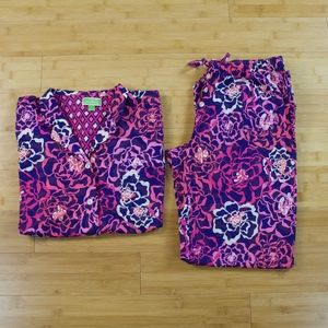 Vera Bradley Pink Purple Blue Pajama Set Size S